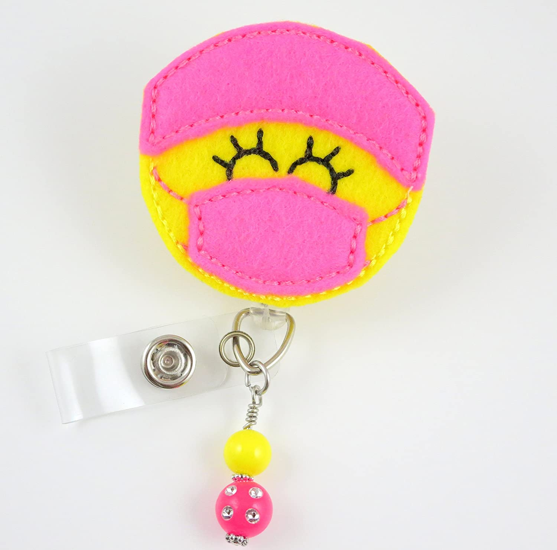 Pink surgeon badge holder Surgeon badge holder Doctor badge reel SURGEON Felt badge reel Retractable badge reel Felt badge reel