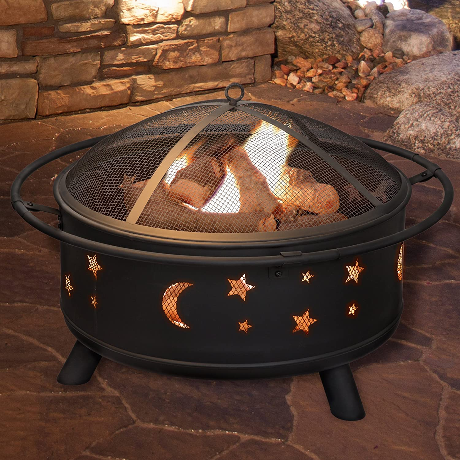 Fire Pit Set, Wood Burning Pit - Includes Screen, Cover and Log Poker- Great for Outdoor and Patio, 30 inch Round Star and Moon Firepit by Pure Garden