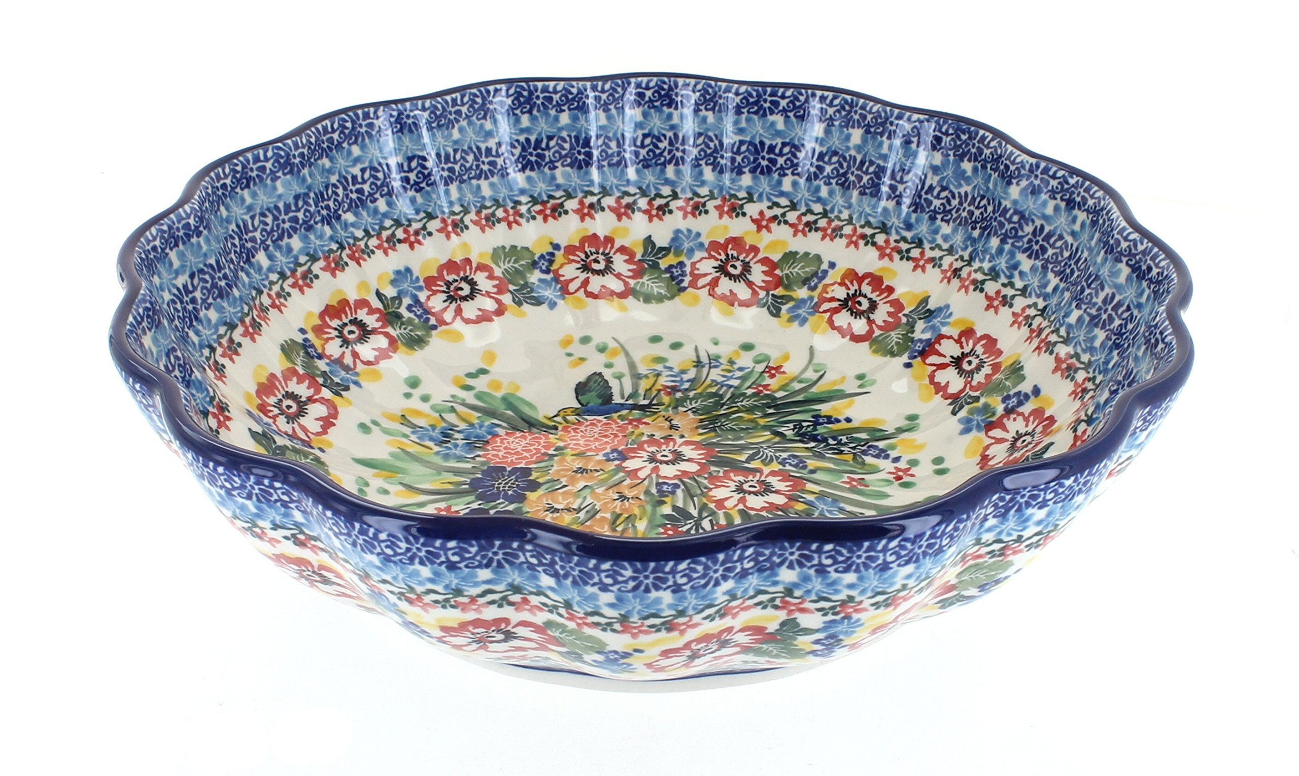 Polish Pottery Hummingbird Large Scallop Bowl