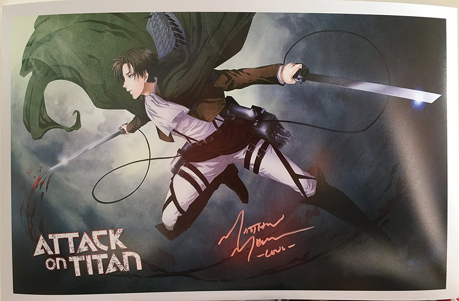 Attack On Titan Levi Voice Actor Matthew Mercer Signed 11x17 Photograph Black Background At Amazon S Entertainment Collectibles Store