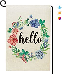 Agantree Art Hello Floral Wreath Garden Flag Waterproof Double Sided Spring Summer Welcome Yard Decor12 x 18 Inch