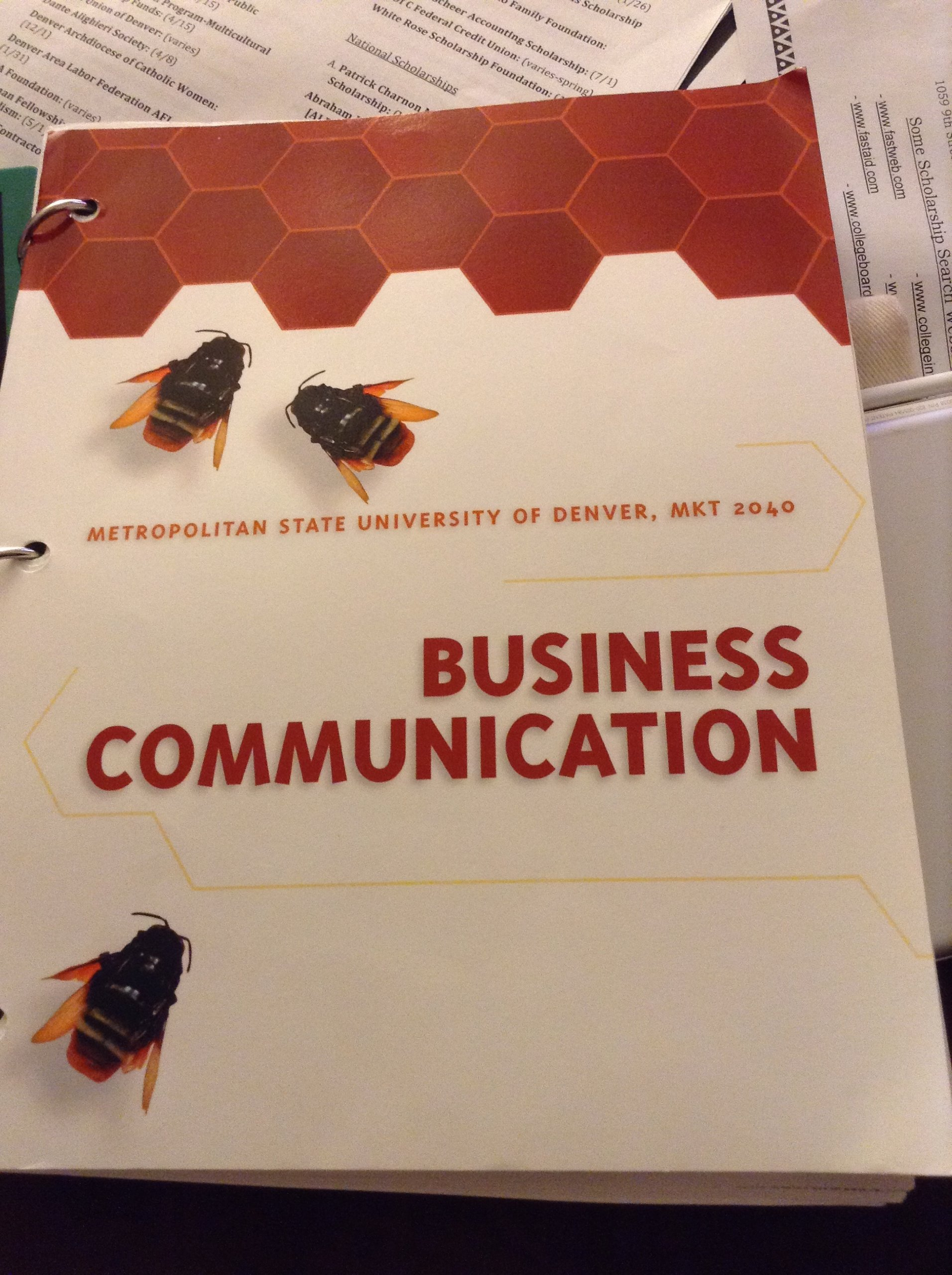 Metropolitan State University Of Denver MKT 2040 Business Communication Loose Leaf Large Print 2012
