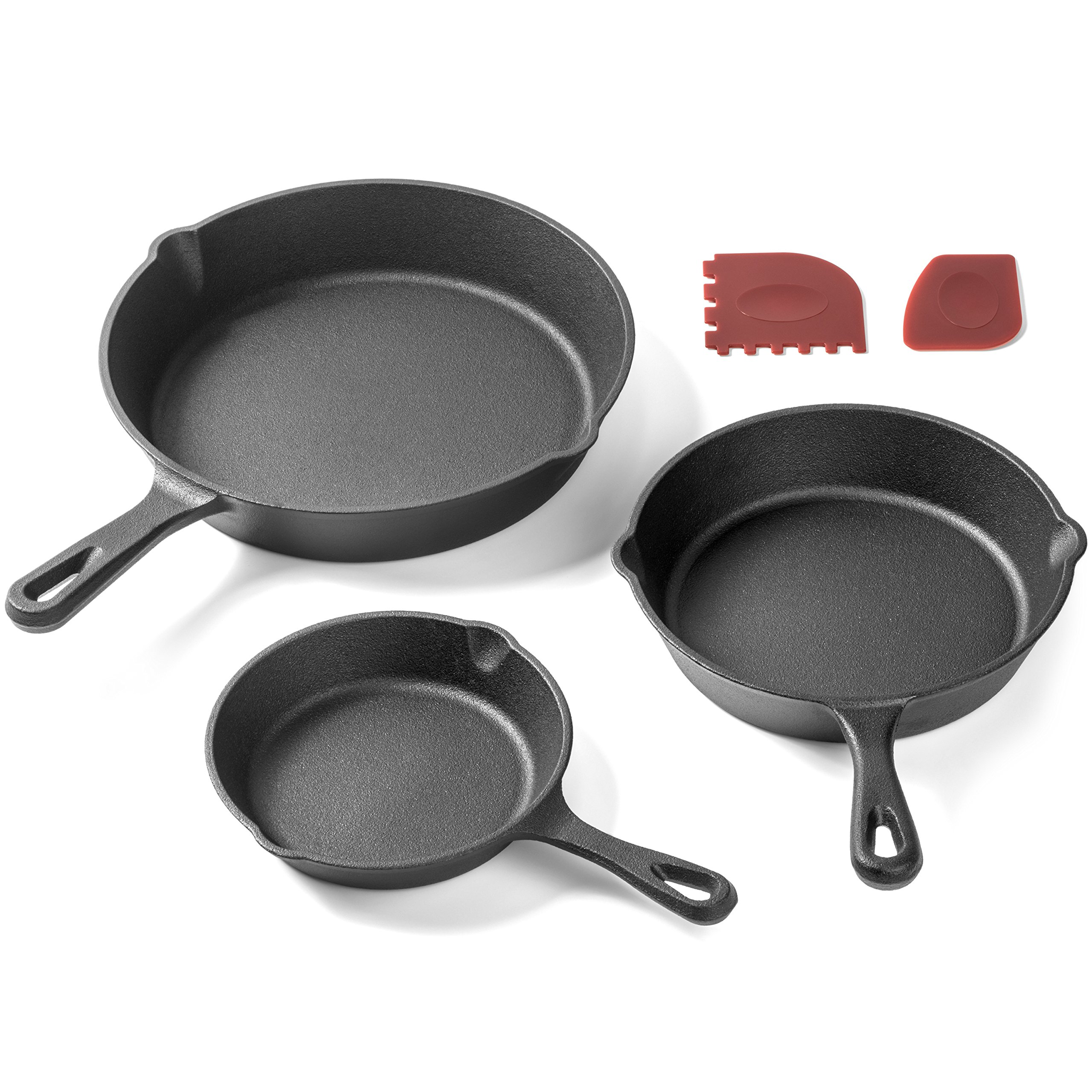 Pre-Seasoned Cast Iron Skillet 3 Piece Set (10, 8 inch & 6 inch Pans) Best Heavy Duty Professional Restaurant Chef Quality Pre Seasoned Pan Cookware For Frying, Saute, Cooking by Amsha Kitchen (Image #1)
