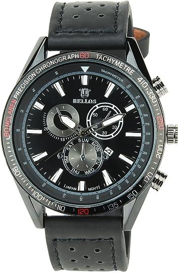Reloj Hombre BELLOS Negro Cuarzo Acero Fecha pantalla analógica Elegante Deporte Modo Pulsera Negro Piel sintética
