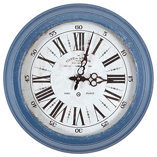 Yosemite Home Decor Circular Iron Wall Clock, Blue Frame, White Face, Black Text, Black Hands