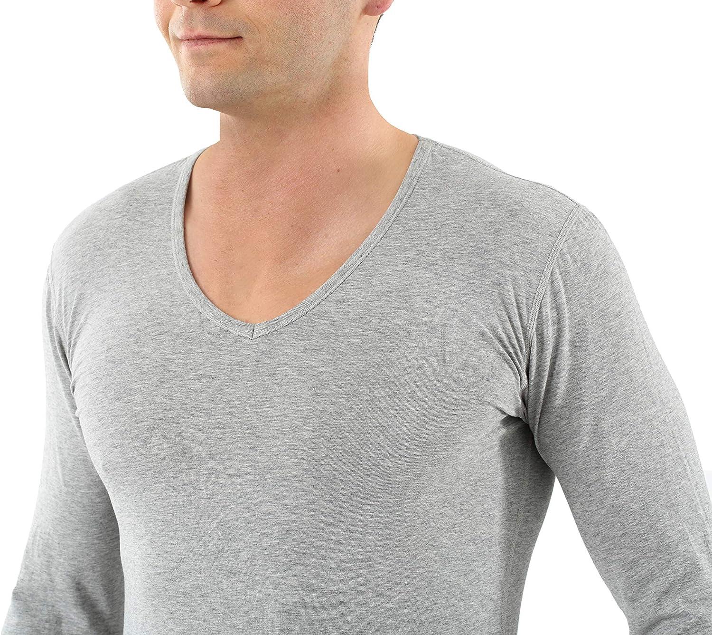 ALBERT KREUZ Camiseta Interior de Manga Larga Cuello en V de algod/ón org/ánico el/ástico Gris