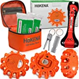 HOKENA LED Road Flares Emergency Lights - Roadside Warning Car Safety Flare Kit for Vehicles & Boat - 3 Beacon Disc Pack with