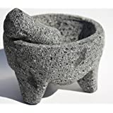Hand Carved Mexican Molcajete - Guacamole Mortar and Pestle and Salsa Maker - Make Countless Authentic, Flavorful and Mouthwatering Dishes - 8.5 Inch