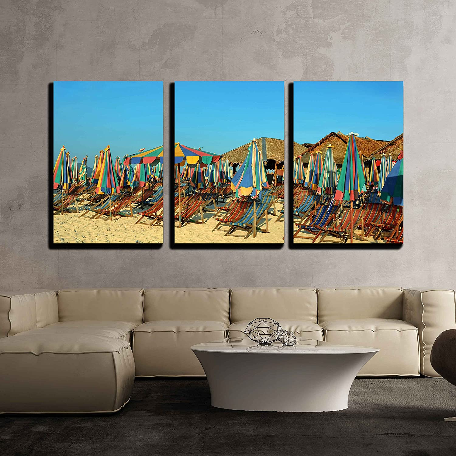 Amazon Com Wall26 3 Piece Canvas Wall Art Vacation Chairs And Umbrellas On Sandy Tropical Beach Of Thailand Island Modern Home Art Stretched And Framed Ready To Hang 24 X36 X3