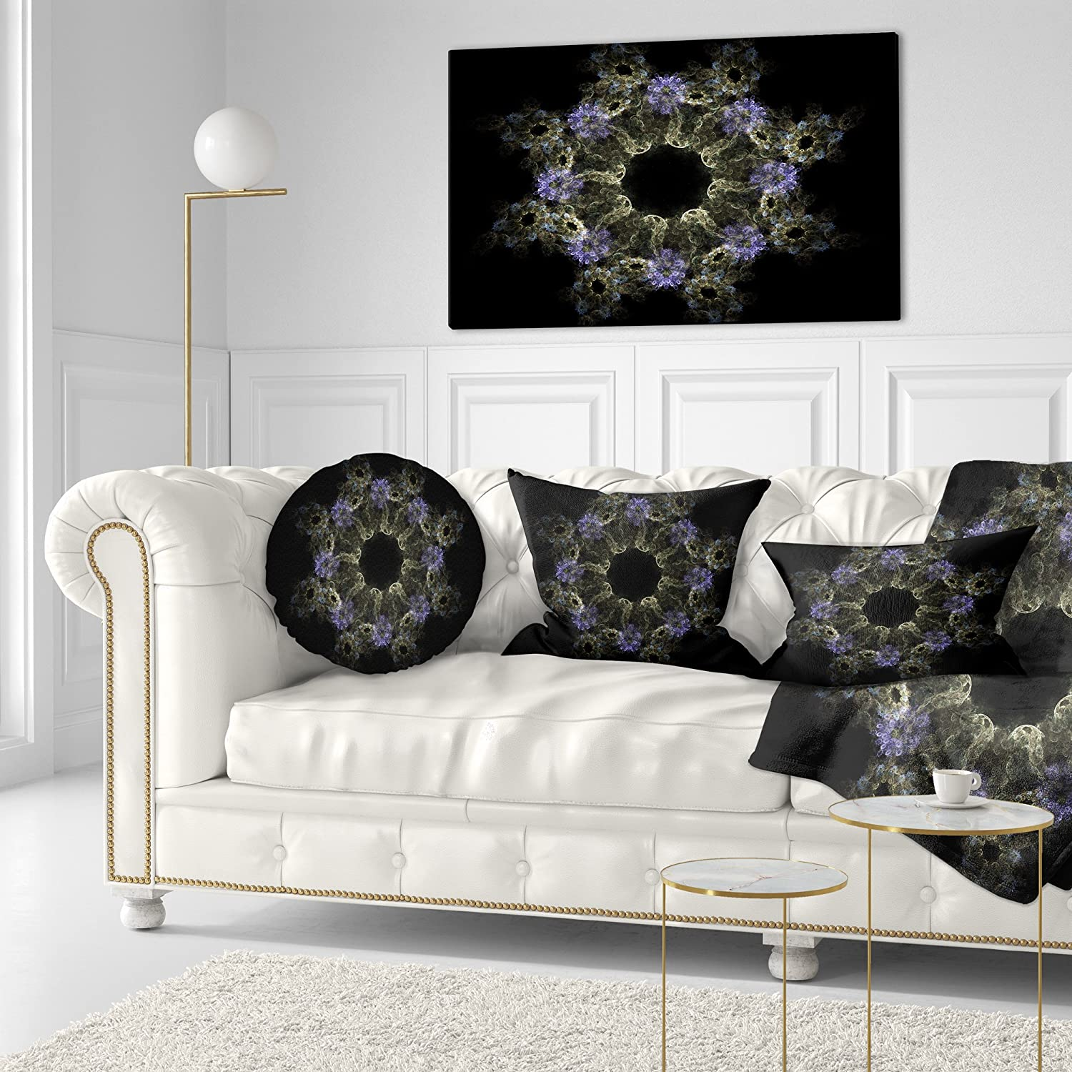 Sofa Throw Pillow 20 Designart CU12187-20-20-C Glowing Radial Fractal Flower in Purple Floral Round Cushion Cover for Living Room Insert Printed On Both Side