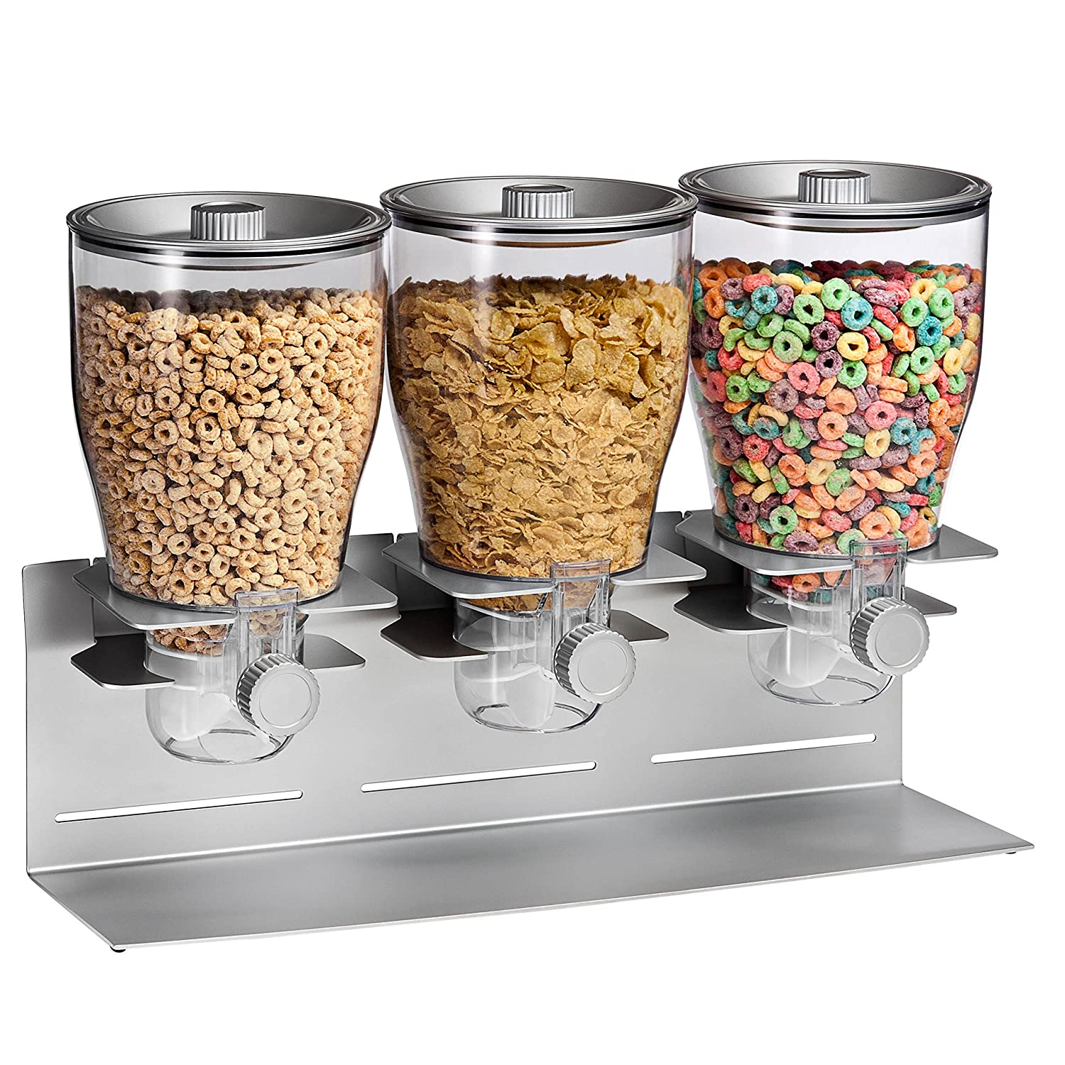 Honey-Can-Do Triple Canister Dry Food Cereal Dispenser, Stainless Steel