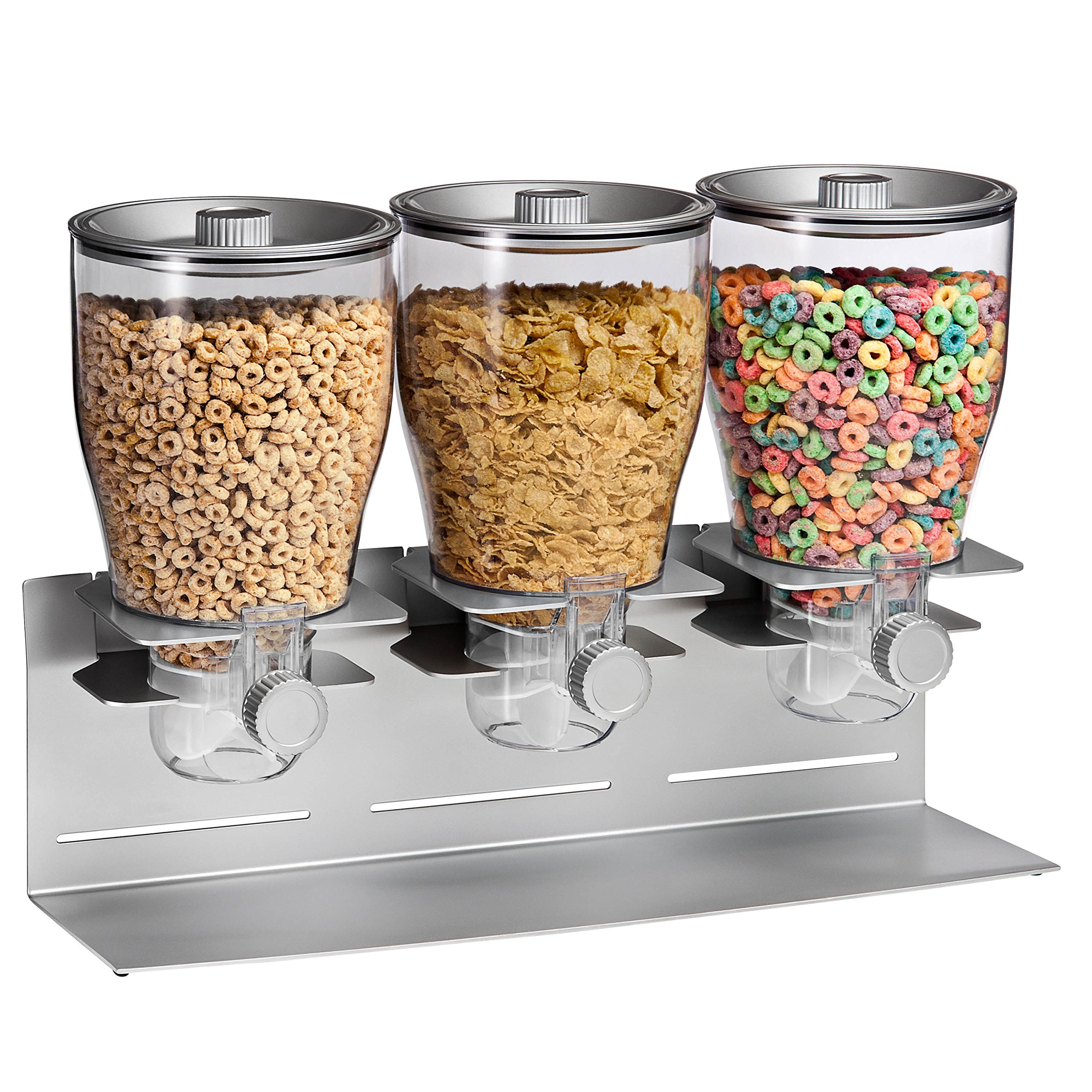 Honey-Can-Do Triple Canister Dry Food Cereal Dispenser, Stainless Steel by ZevrO (Image #1)