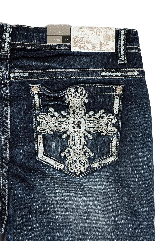 Grace in LA Idol Jeans Easy Fit Plush Western Cross Dark Wash Straight Leg