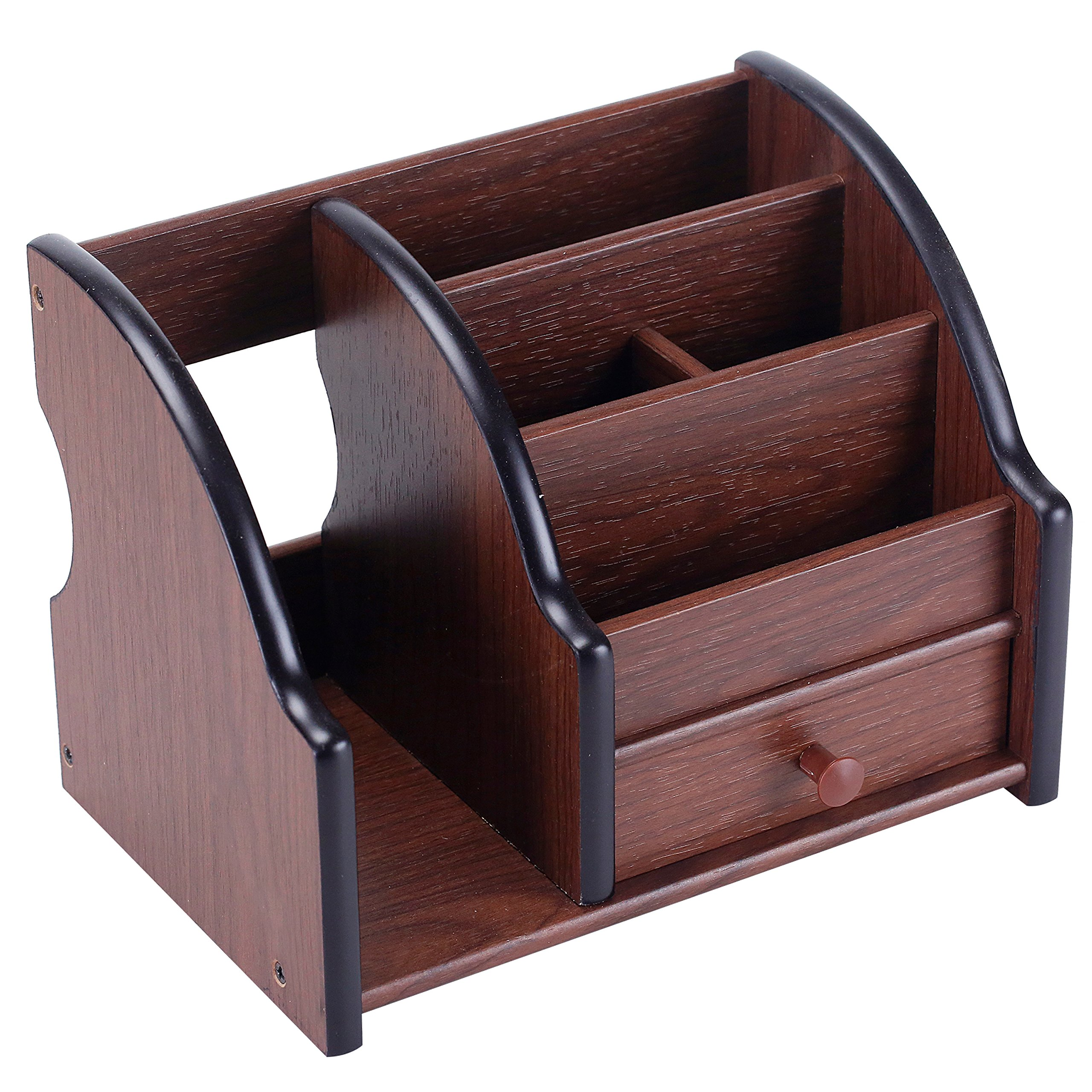 5 Compartment Wood Desktop Office Supply Organizer / Mail Holder Rack with Storage Drawer by MyGift (Image #4)