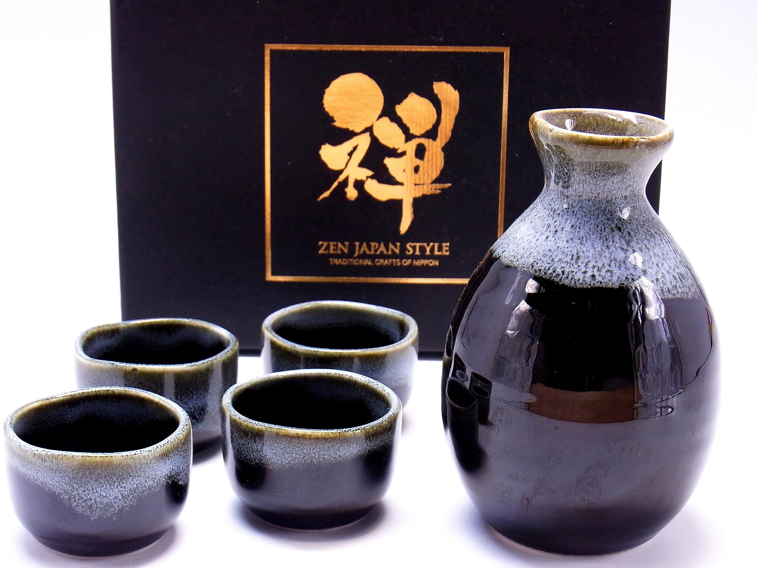 Sake Set Tokkuri Guinomiset Made in japan 5 piece set (brown,white)