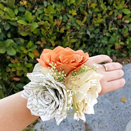 Amazon Corsage In Burnt Orange Champagne And Book Page Paper