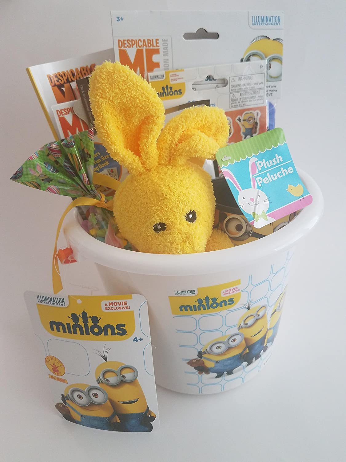 Amazon.com: Greenbriar International Despicable Me Minions Plush Bunny Yellow Party Favor Basket: Toys & Games