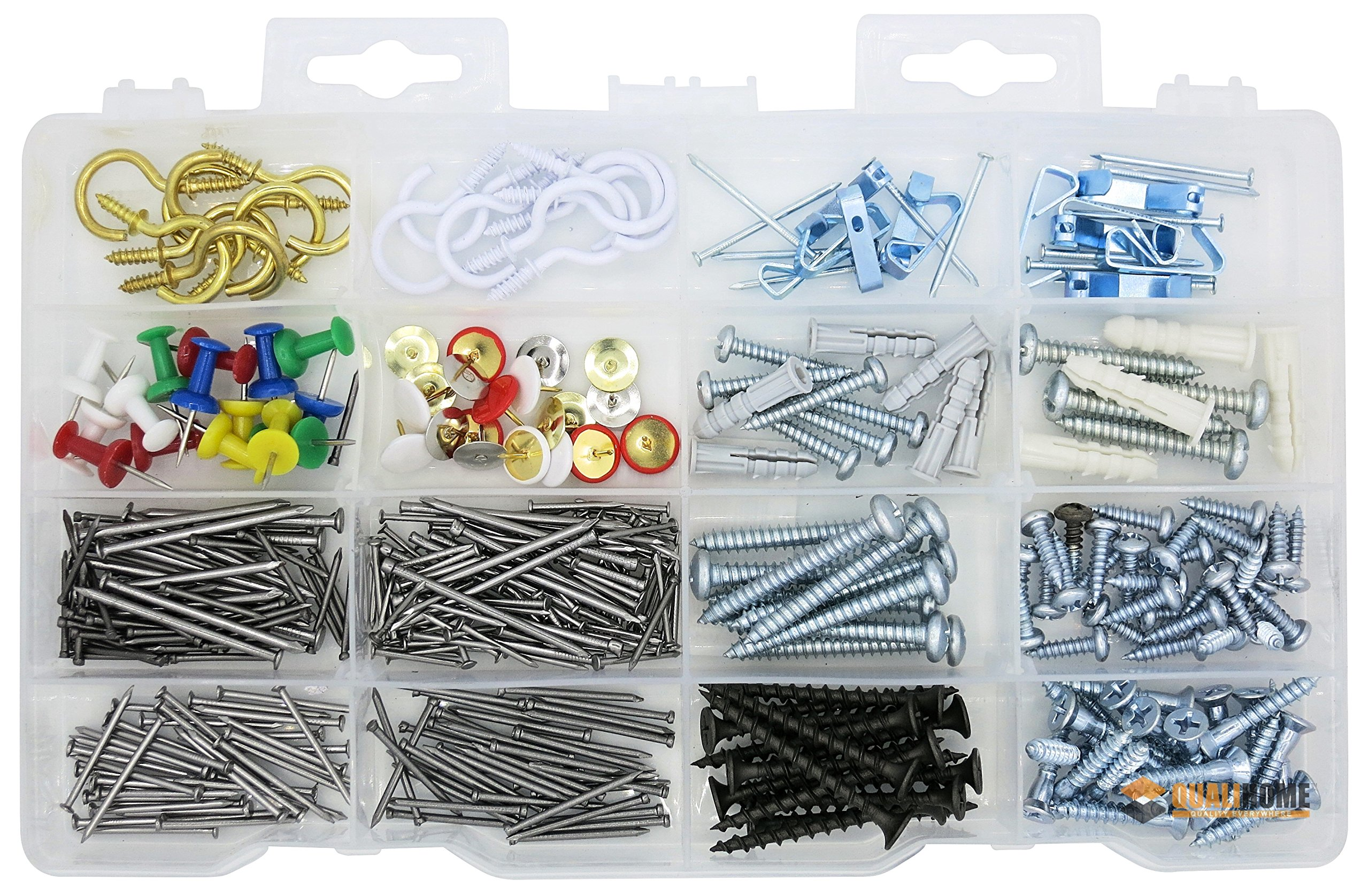 Household Assortment Kit, Cup Hooks, Picture Hangers, Push Pins, Thumb Tacks, Brads, Plastic Anchors, Screws and Nails, 360 Pieces.