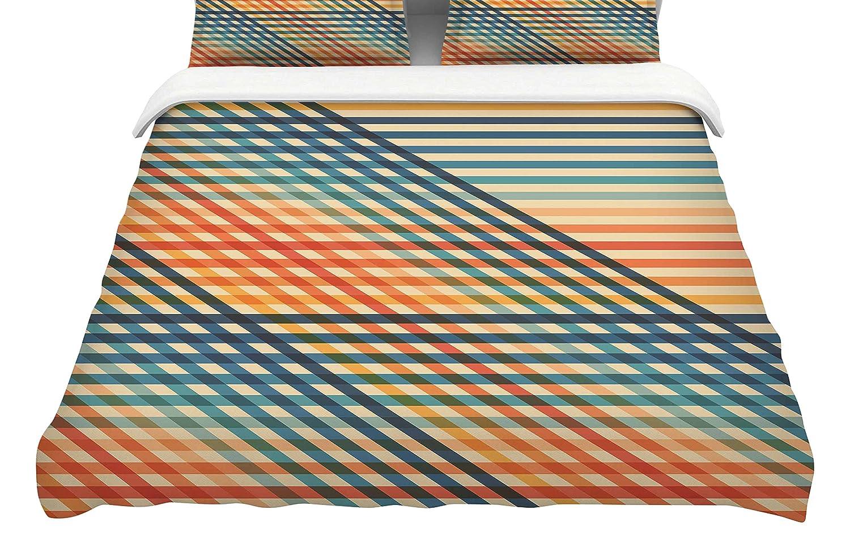 104 x 88, Kess InHouse Fimbis OvrlapToo Orange LinesKing Cotton Duvet Cover