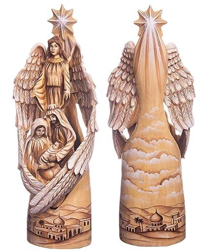 Amazoncom Tycteartstudio 12 Hand Carved Angel Carved Nativity