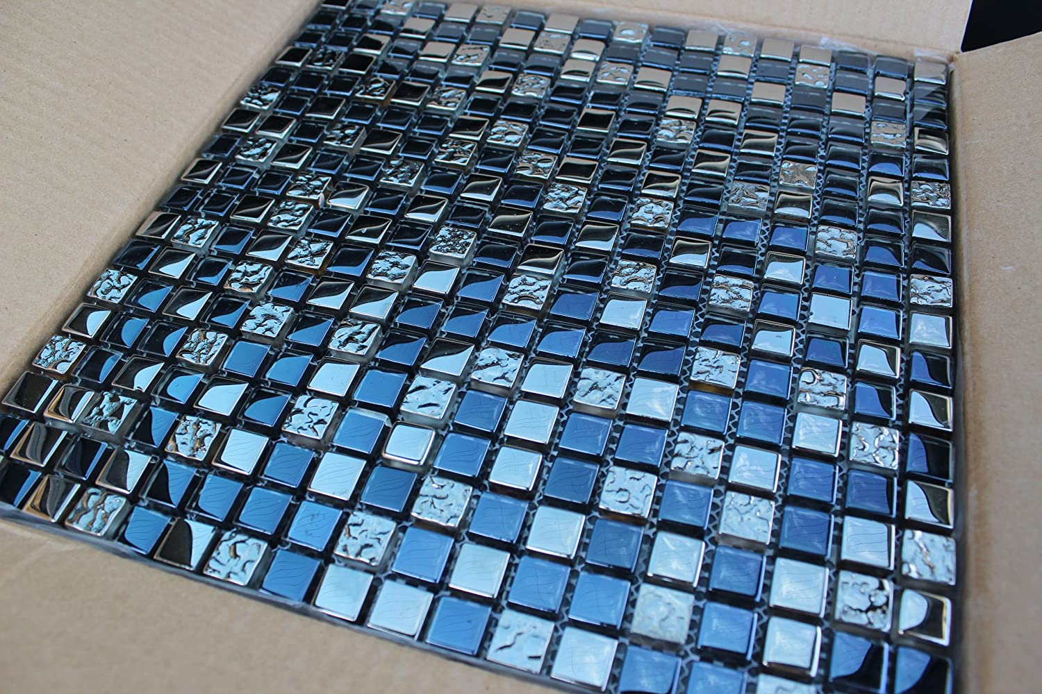 10 SHEET 10 SQUARE FEET Blue Silver Mosaic Tiles Mesh Sheet Glass ...