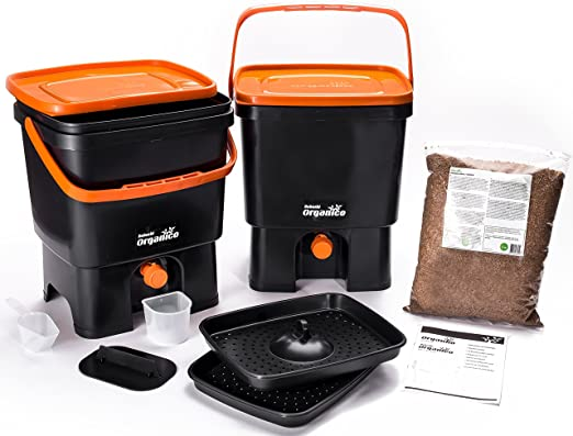 Skaza - mind your eco bokashi orgánico compostador Negro/Naranja: Amazon.es: Jardín