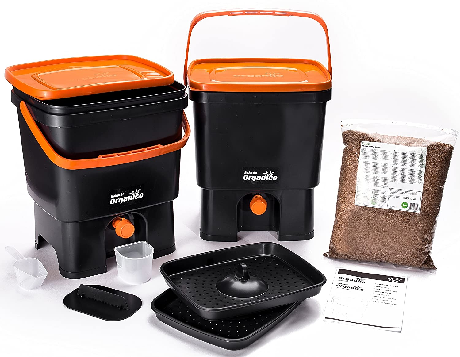 Bokashi Organico Dual System 2x3.5 gallon Buckets with active Bran and Accessories- Sustainable and Innovative Organic Waste Bin - Composter Kit (Black/Green) Plastika Skaza d.o.o.