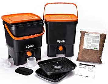Skaza - mind your eco Bokashi Organico Kitchen composter, Black/Orange: Amazon.es: Hogar