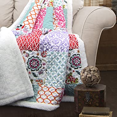 Lush Decor Brookdale Reversible Throw-Colorful Floral Pattern Patchwork Blanket-60 x 50 , 60 x 50 Purple/Turquoise