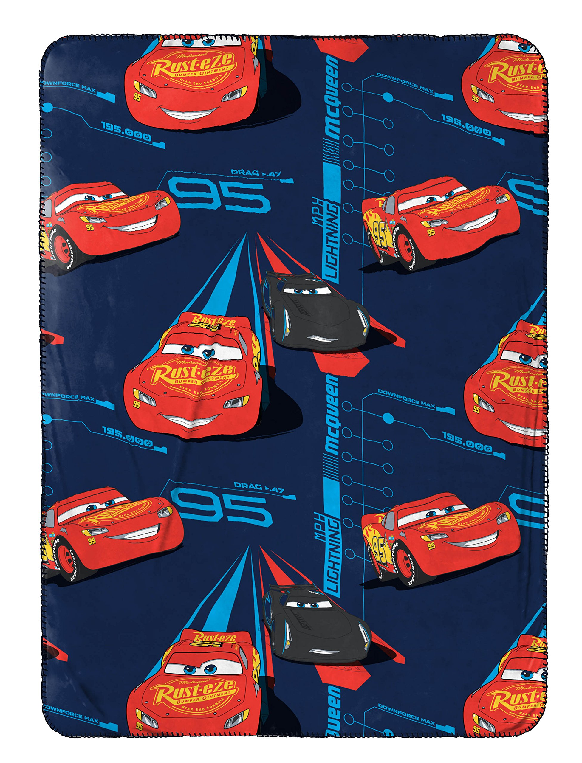 Disney/Pixar Cars 3 Movie Speed Trip Dark Blue 40'' x 50'' Travel Throw Blanket with Lightning McQueen and Jackson Storm (Official Disney/Pixar Product)