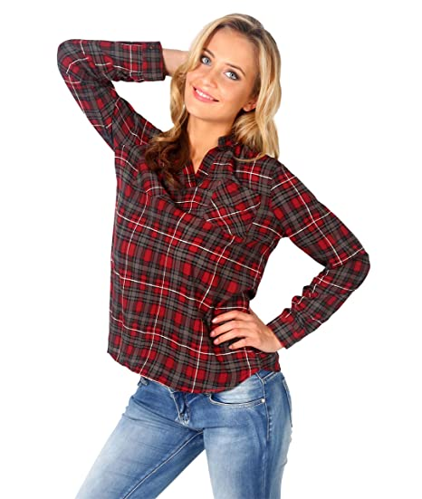 562903bf2b KRISP Womens Tartan Plaid Flannel Long Sleeve Button Down Shirt Plus Size:  Amazon.ca: Clothing & Accessories