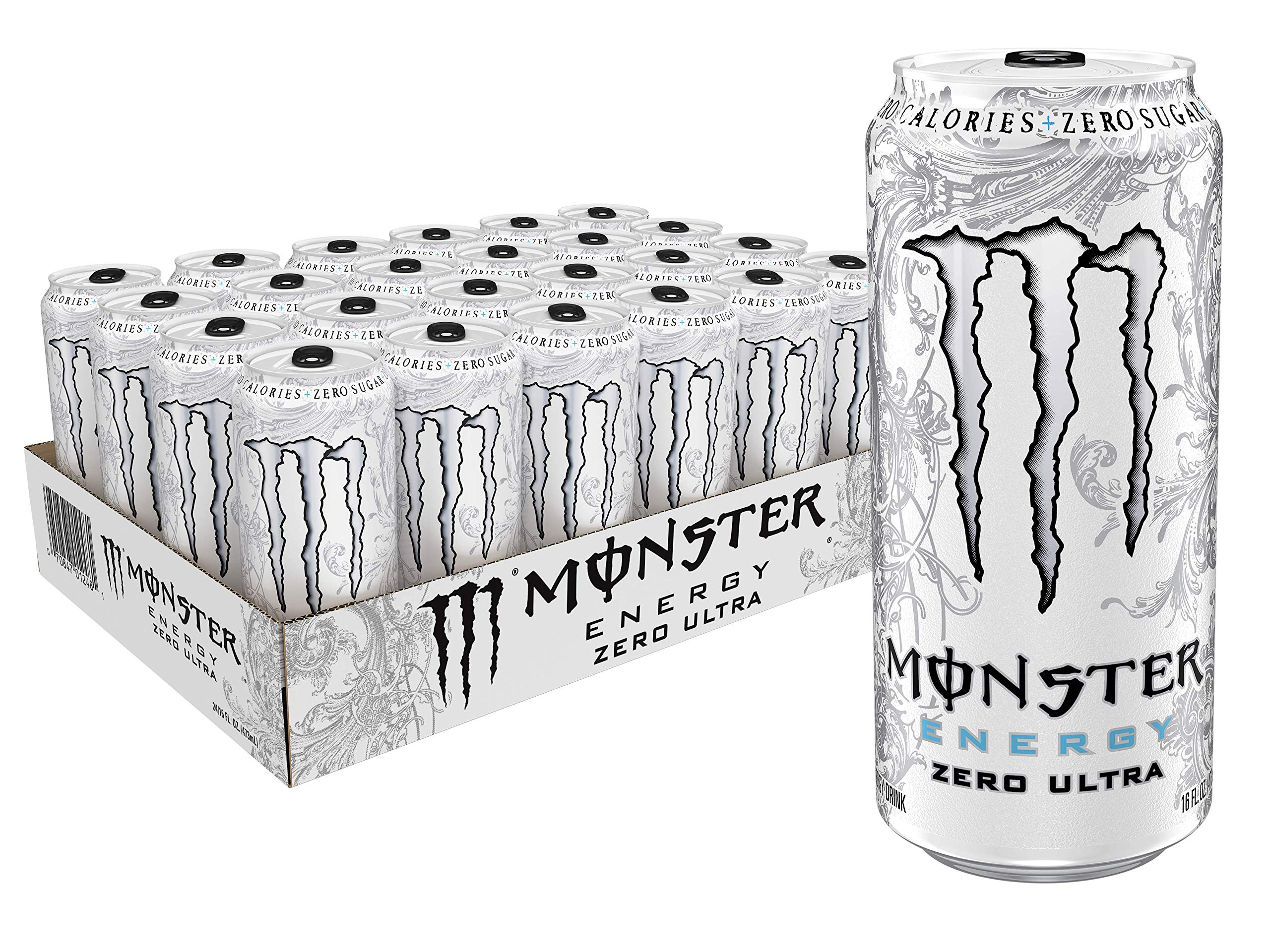 Monster Energy Zero Ultra, Sugar Free Energy Drink, 16 Ounce (Pack of 24) by Monster Energy
