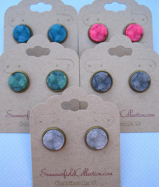 Antiqued Gold-tone Aqua Blue Faux Druzy Stone Stud Earrings 12mm