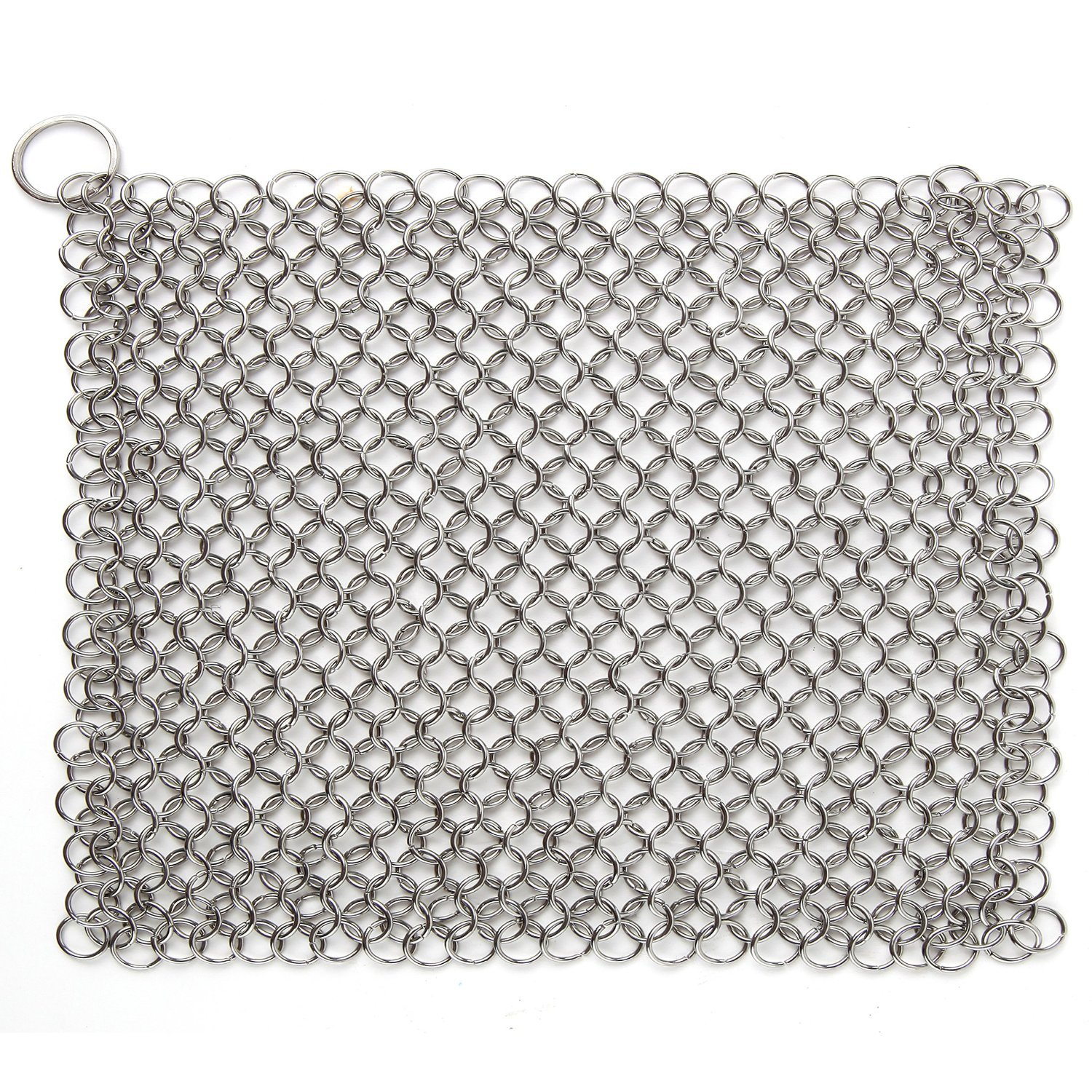 Cast Iron Chainmail Scrubber, Laniakea® Ultimate Solution for Cleaning (Pre)Seasoned Cookware - XLarge, 8x6 Inch, Handcrafted from Stainless Steel