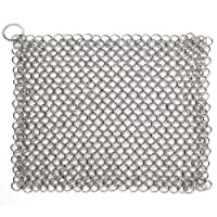 Cast Iron Chainmail Scrubber, Laniakea® Ultimate Solution for Cleaning (Pre) Seasoned Cast Iron Cookware - XLarge, 8x6 Inch, Handcrafted from Stainless Steel