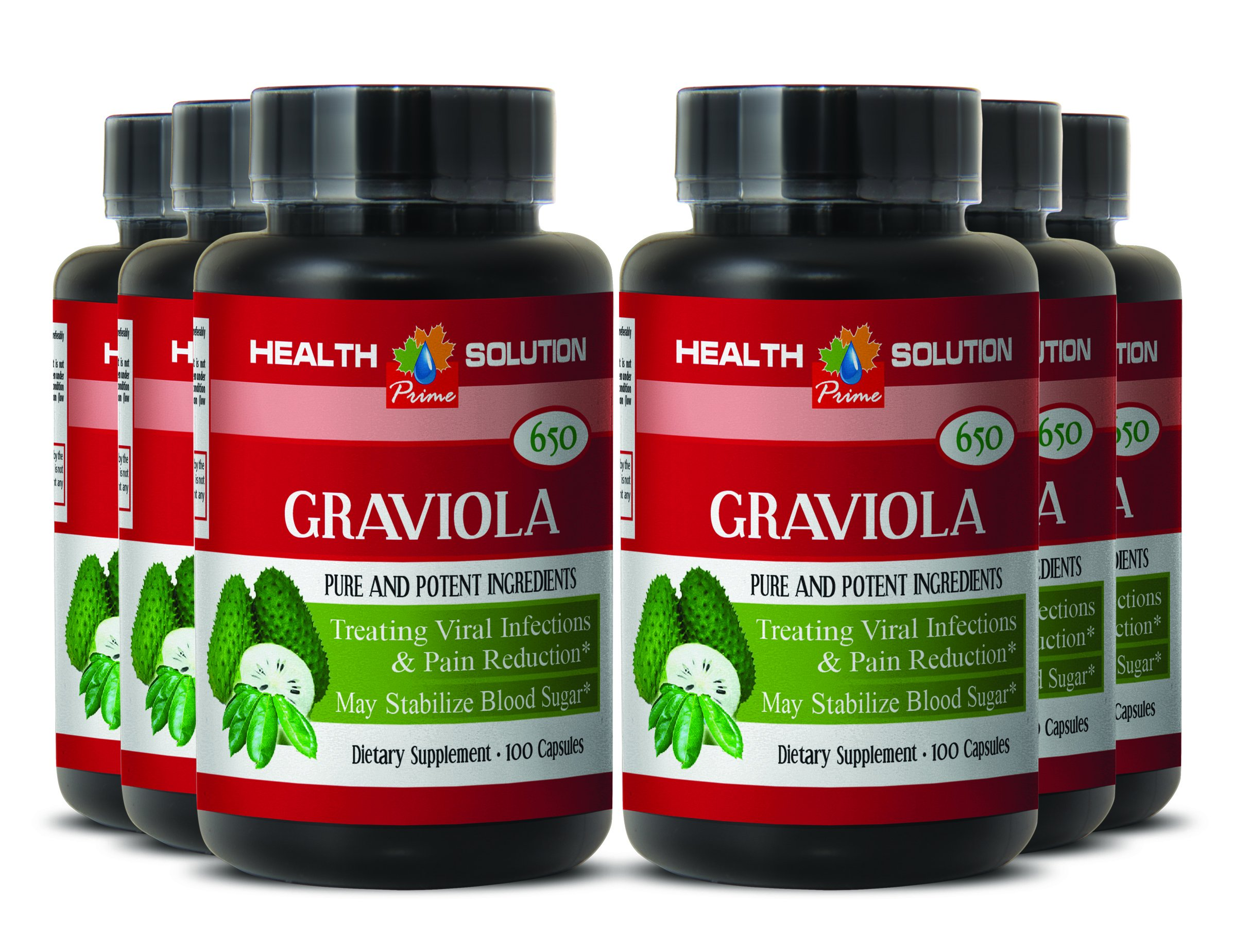 Pancreas Supplement - Premium GRAVIOLA Extract 650 Mg - Soursop Healthy - 6 Bottles 600 Capsules