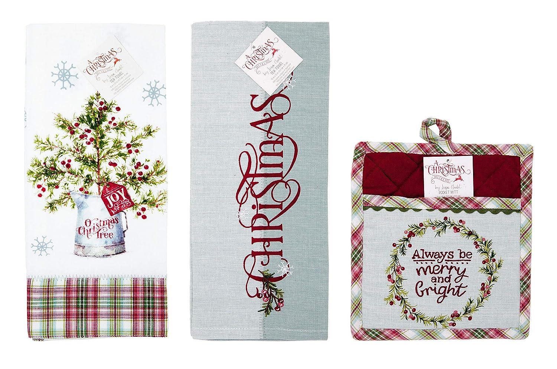 Kay Dee Christmas Weekend by Lisa Audit 3-pc Set Oven Mitt Pot Holder and 2-Tea Towel