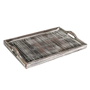 Rustic Torched Wood Breakfast Serving Tray & Coffee Table Accent Platter with Cutout Handles, Brown