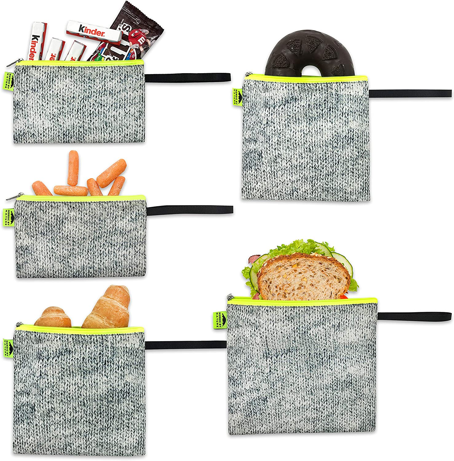 Nordic By Nature Reusable Sandwich Bag Snack Bags - Value Pack of 5 Dual Layer Lunch Baggies - Dishwasher Safe - Eco Friendly Cloth Wraps - Easy Open Zipper For Kids (Grey/Neon)
