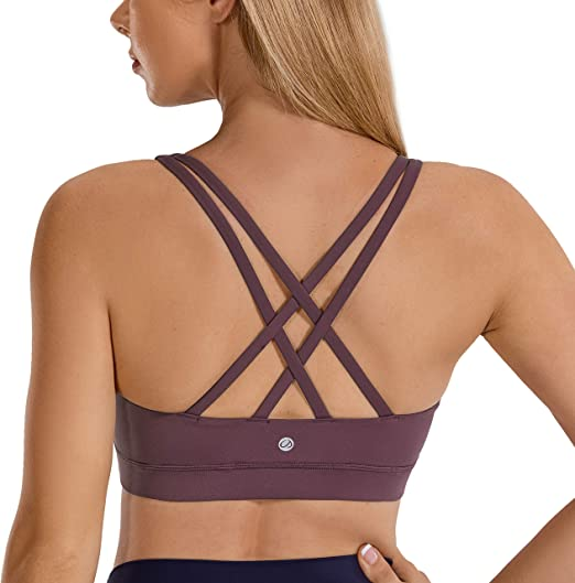 EISHOPEER Womens Strappy Sport Bra Removable Padded Wireless Cross Back Medium Support Workout Yoga Bra Crop Tops