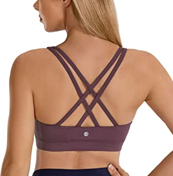CRZ YOGA Women's Strappy Back Wirefree Padded Workout Yoga Sports Bra