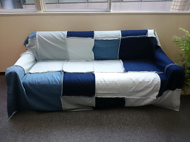 デニムソファカバーのおすすめ5選 huana-japan cloth goods マルチカバー デニム パッチワーク 190cm×190cm