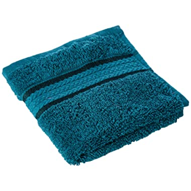 Cotton Craft Ultra Soft 12 Pack Wash Cloths 12x12 Teal Weighs 2 Ounces Each - 100% Pure Ringspun Cotton - Luxurious Rayon Trim - Ideal for Everyday use - Easy Care Machine wash