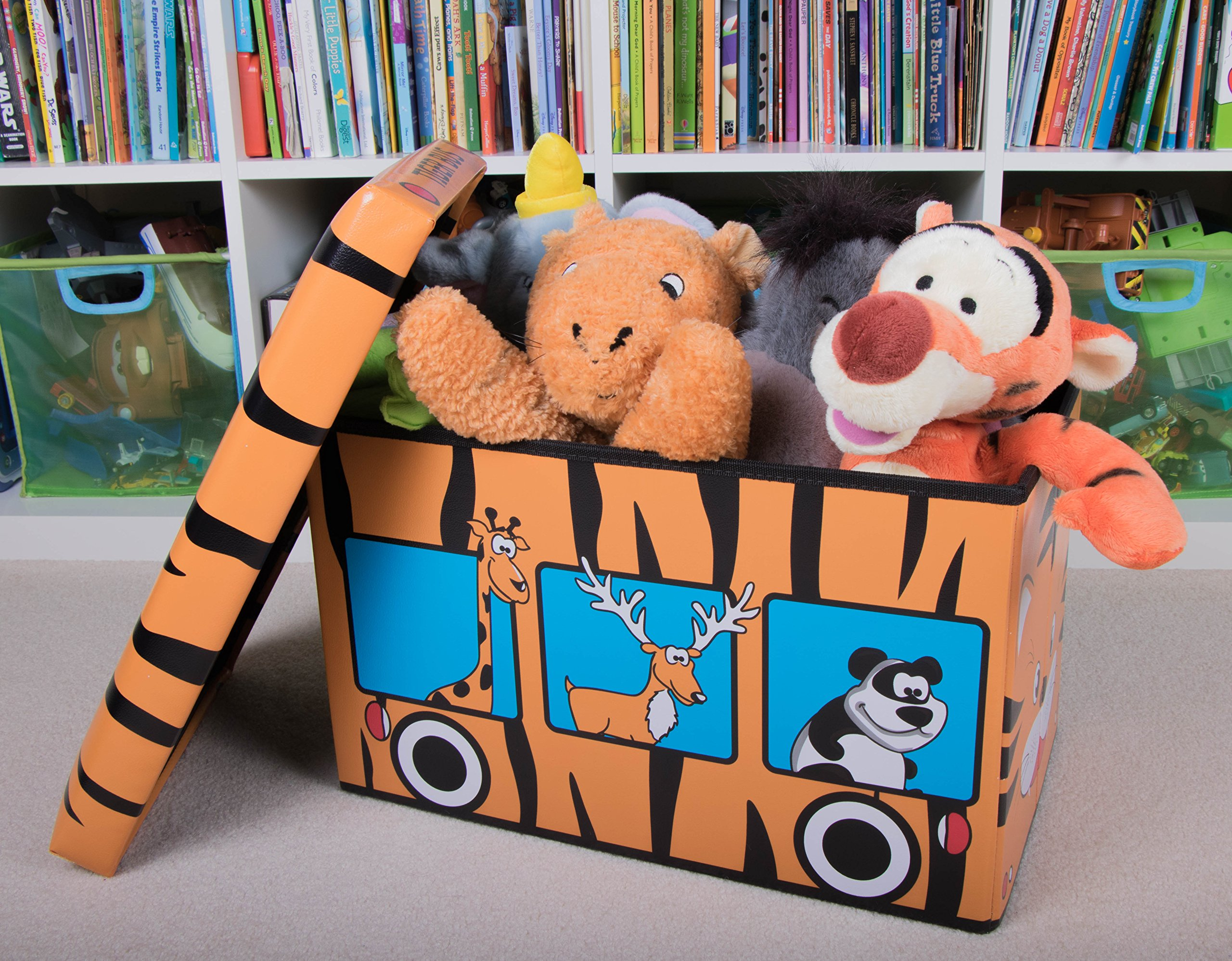 Safari Bus Collapsible Storage Organizer by Clever Creations | Storage Box Folding Storage Ottoman for Your Bedroom | Perfect Size Storage Chest for Books, Shoes & Games by Clever Creations (Image #5)