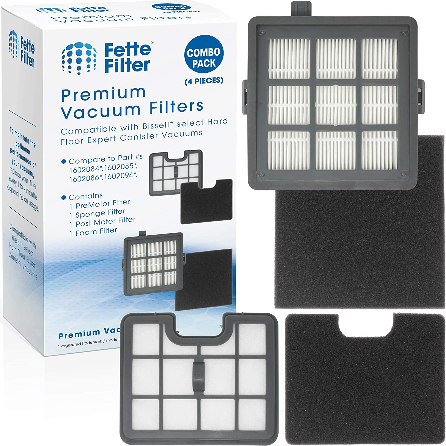 Fette Filter - Filter Set Compatible with Bissell Hard Floor Expert Canister Vacuum Series 1154 & 1161 Contains- 1 PreMotor 1 Sponge 1 Post Motor 1 Foam Part #s 1602084, 1602085, 1602086, 1602094.