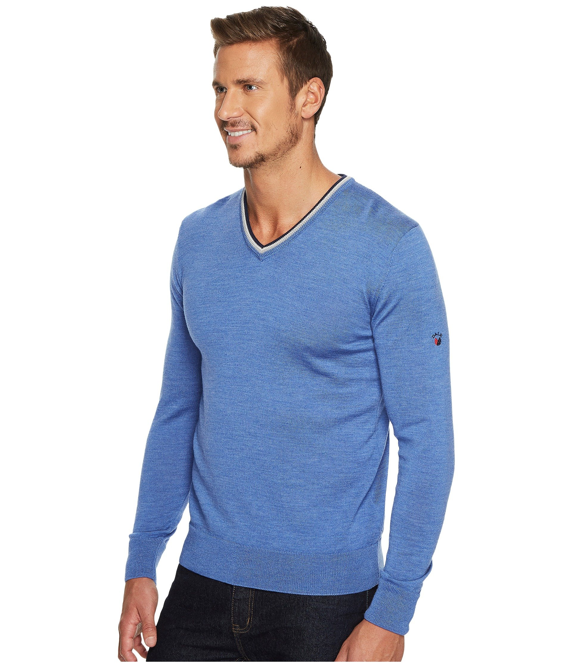 Dale of Norway Kristian masculine sweater, Medium Blue/Off-white/Navy, XX Large by Dale of Norway (Image #3)
