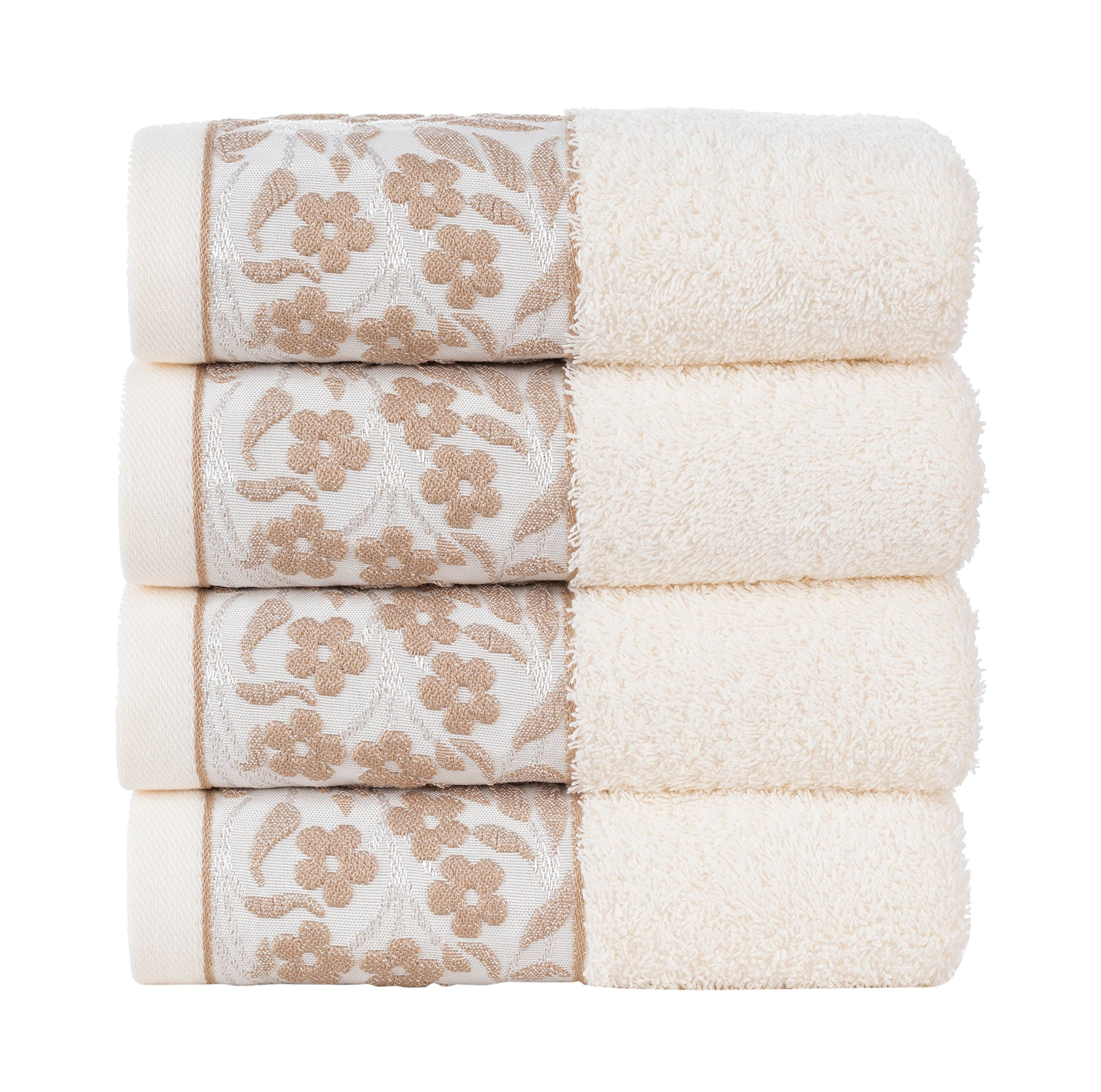 HYGGE Premium 100% Turkish Cotton Hand Towel with Floral Jacquard 19'' x 32'' (Set of 4) (Cream)