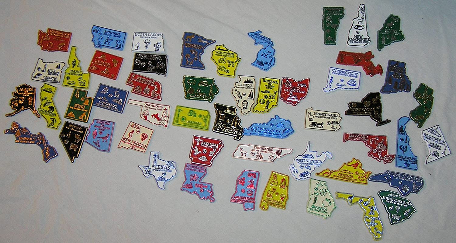 50 State Map Refrigerator Magnets