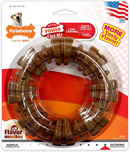 Free Shipping Nylabone Dura Chew Power Chew Textured Ring Bone Standard Packa..