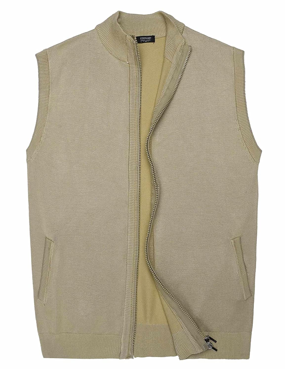 COOFANDY Men's Slim Knitted Cardigan Full Zip up Sweater Vest with Pocket